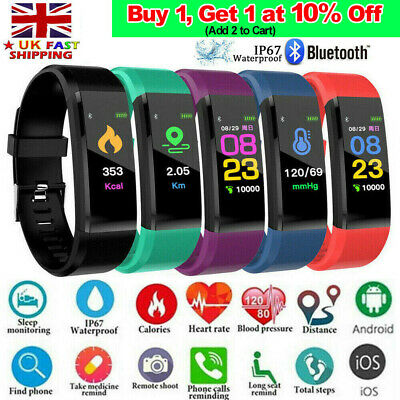 Fitness Smart Watch Activity Tracker Fitbit Android iOS Heart Rate Women Men Kid