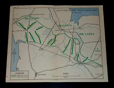 WW2 D-Day Invasion Map of OPERATIONS OF FIRST UNITED STATES ARMY 3-18 JULY 1944