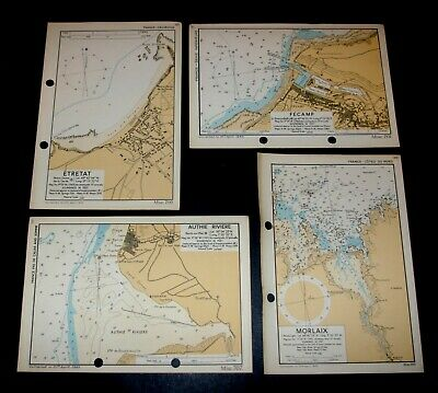 4 WW2 maps used planning of D-Day OVERLORD Invasion of FRANCE coastline - 1943