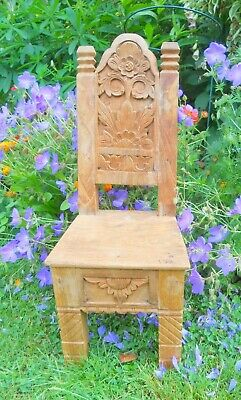 Vintage Small Carved Wooden Throne Chair