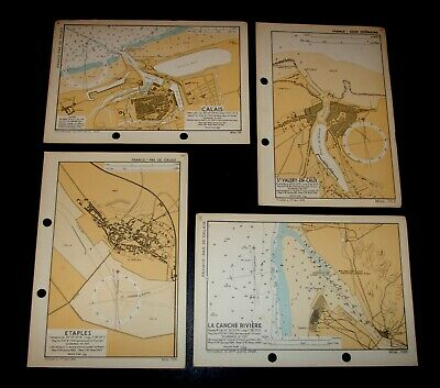 4 WW2 OVERLORD maps used planning the D-Day Invasion of FRANCE coastline - 1943