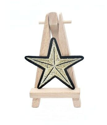Ecusson étoile brodée thermocollante gold star patch 7 cm