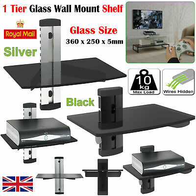 1 Tier Silver Glass Floating Wall Mount Shelf DVD Player Sky Box Game Console.