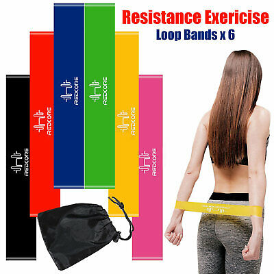6Pcs Resistance Loop Bands Mini Band Exercise Cross fit Strength Fitness GYM OZ