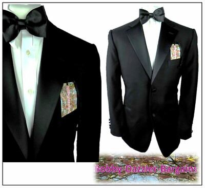 "George Mens Black Dinner Tuxedo suit Ch40""S W34"" L29"" 2 button notch lapel"