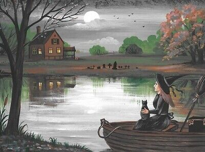 Aceo Print Of Painting Ryta Halloween Black Cat Witch Haunted Lake House Autumn