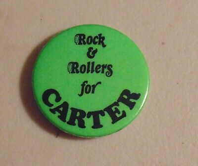 Jimmy Carter Campaign Button Rock & Rollers for Carter Prezydenci i pierwsze damy