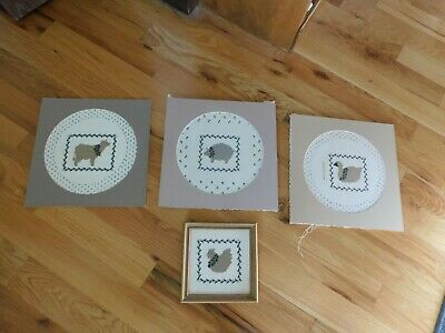Country Cross Stitch Panel Set COMPLETED Handmade Chicken Pig Cow Goose