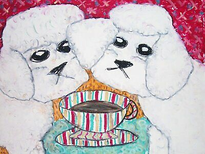 MALTESE Drinking Coffee Dog Outsider Pop Vintage Art Giclee Print 8 x 10 Signed
