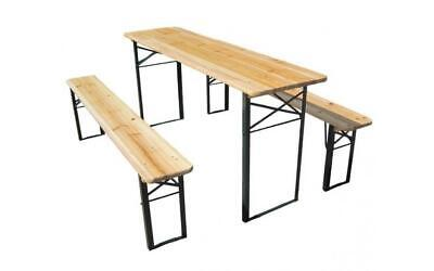 NEW Westwood Wooden Wood Steel Garden Patio Folding Beer Table Bench Set Trestle
