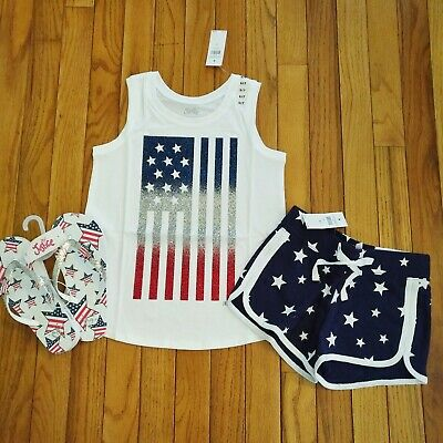 NWT Justice Girls 4th of July Tank Top/Shorts/Flip Flops Size 6 712 14 16 Outfit