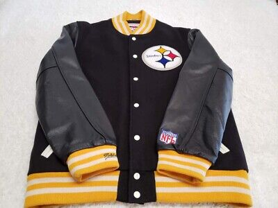 cf69db1cf49 NFL Pittsburgh Steelers Mitchell & Ness Throwback Wool Leather Jacket XL