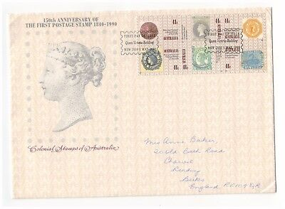 Australia 1990 150Th Anniversary Penny Black Block Of 6 Official First Day Cover