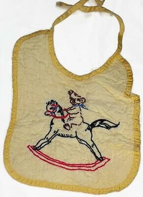 Vintage Quilted Yellow Baby Bib w Embroidered Rocking Horse and Teddy Bear