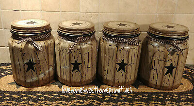 Primitive Crackle Tan /& Barn Red Stars Glass Canisters Set of 4 ~ Country Decor