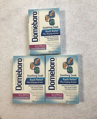 3) DOMEBORO SOOTHING Soak Rash Relief 12 Powder Packets Each, 38