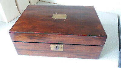 """Lovely Vintage / Antique Wooden Writing Slope / Box - No Key - 12 X 8 1/2  X 4 """""""
