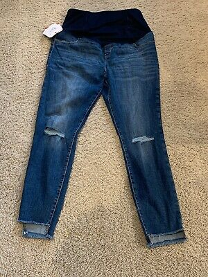 23b443d0cdad8 Isabel Maternity Dark Wash Distressed Jean + Crossover Panel Size 12 #ma156