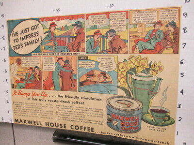 newspaper ad 1930s MAXWELL HOUSE coffee TED,Postum drink mix coffee nerves