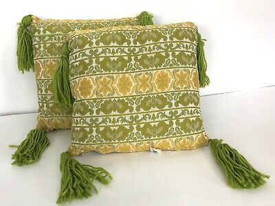 2 Mid Century Green Gold Tassel Throw Pillow Vintage Brentwood Originals NOS