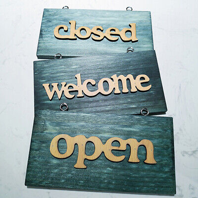Vintage Wooden Open Close Welcome Bar Cafe Bookstore Door Window Hanging Sign