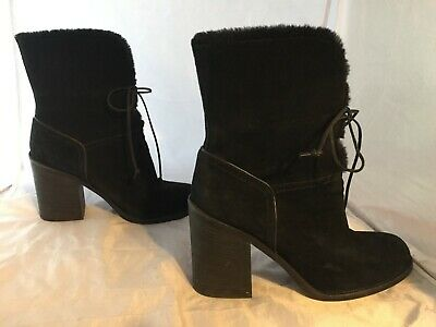 64d7b0f58e9 UGG JERENE BLACK Suede Shearling High Heel Cuffable Boots 7.5US MSRP ...