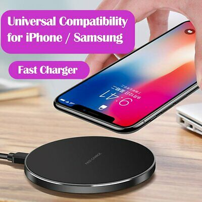 For Samsung Galaxy S10 S9 S8 Plus S7 Qi Metal Fast Wireless Charger Charging Pad