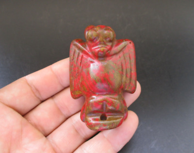 Old China,Hongshan Culture,Red Turquoise,Jade,eagle,amulet,pendant Y6908