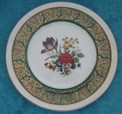 vintage Simpsons SOLIAN WARE Cabinet DISPLAY PLATE Flowers green & gold border