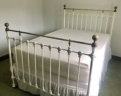 Superb Original Antique Victorian Brass And Iron Double Bed 4'6""