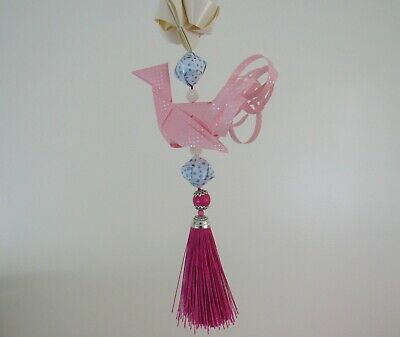 Handmade Origami Bird Mobile, Ribbon Crane Ornament