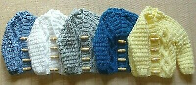 Hand Knitted Soft & Warm Baby Cable Knit Aran Cardigan 6-12 Months Gift Box New