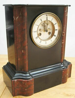 Large JAPY FRERES Victorian Slate and Marble Mantel Clock Brocot escapement