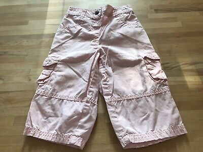 Girls Pink Next Cargo 3/4 Length Trousers Age 2-3, Height 98cms
