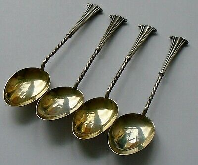 William Devenport B/ham 1908 A Set of 4 x Hallmarked  Silver Teaspoons Edwardian