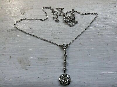 RARE ANTIQUE ART DECO 935 KNOLL & PREGIZER Mark DIAMOND PASTE Silver Necklace