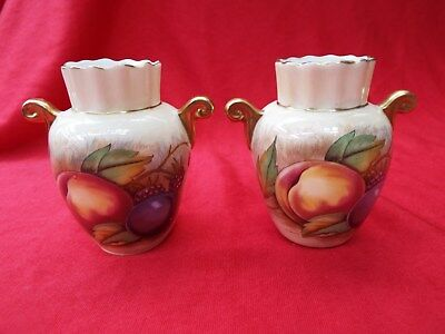 AYNSLEY ORCHARD GOLD Pair Small Two Handled Urns Vases Signed N Brunt