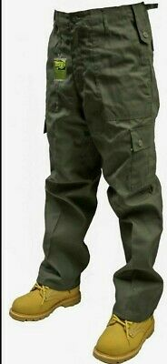 "Cargo Combat Trousers - Plain Color Olive (Leg Length Small 30"" and Regular 32"")"