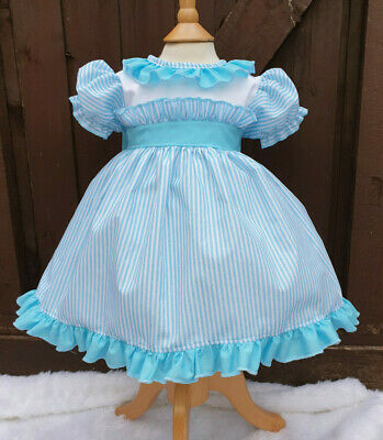 Dream 0-7 Years Baby Girls Turquise Candy Stripe Traditional Lined Dress Reborn