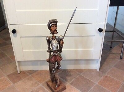 """A Vintage Carved Wood Figure Of """" Don Quixote """"."""