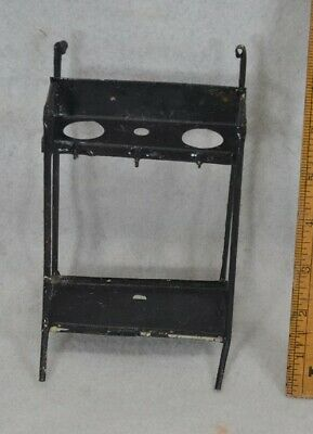 """shelves stand kitchen pressed tin toy doll house 7"""" tall Victorian antique 1880"""