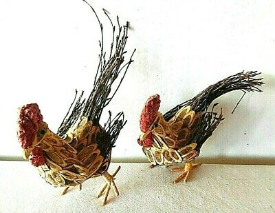 Pair Vintage Hand Crafted Wood Chip Roosters