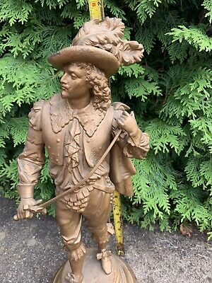 Antique  Ansonia Gilbert Waterbury Don Juan Don Caesar Spelter Clock Statue