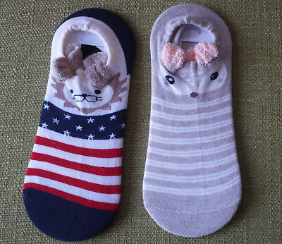 BNWOT  2 x prs GIRLS LION  & MOUSE LOW ANKLE SOCKS UK 12.5 - 3.5