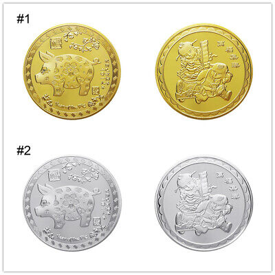Silver/Gold plated pig commemorative coins Chinese zodiac anniversary coin U4S8
