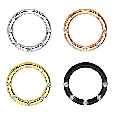 Hinged Segment Ring with Clear Set Gems Surgical Steel Lip Septum Nose Piercing