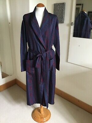 Vintage St Michael Sz M Navy Paisley Dressing Gown Smoking Jacket Robe Mens