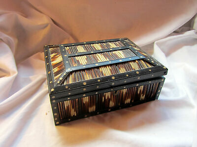 An Antique Indian Porcupine Quill Wooden Box