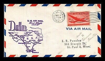 Dr Jim Stamps Us Dallas Am 82 First Flight Air Mail Cover Houston Backstamp