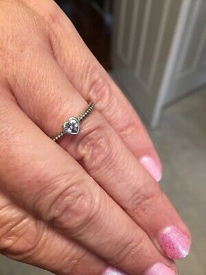 32f3cbde7 PANDORA Delicate Heart Ring Cubic Zirconia Size 54 RRP £40 *Immaculate*